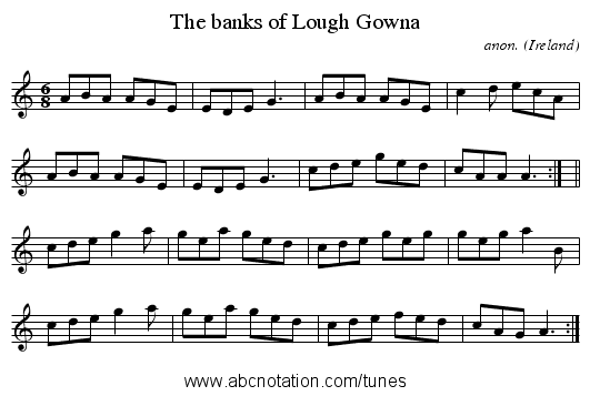 The banks of Lough Gowna - staff notation