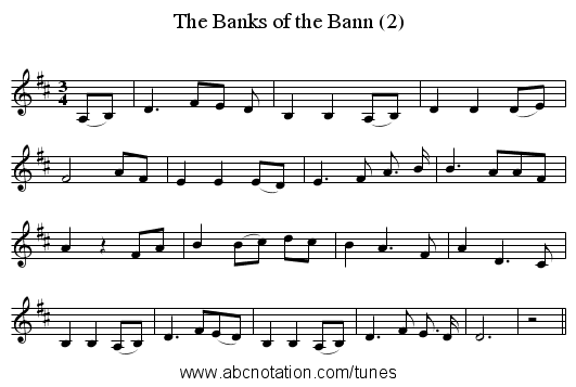 The Banks of the Bann (2) - staff notation
