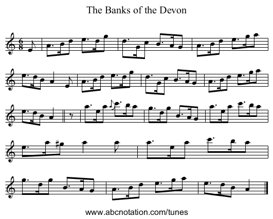 The Banks of the Devon - staff notation