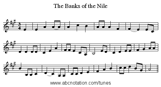 The Banks of the Nile - staff notation