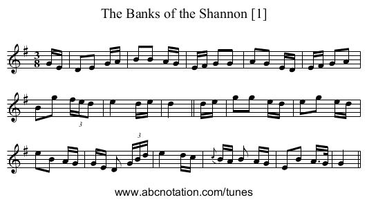 The Banks of the Shannon [1] - staff notation