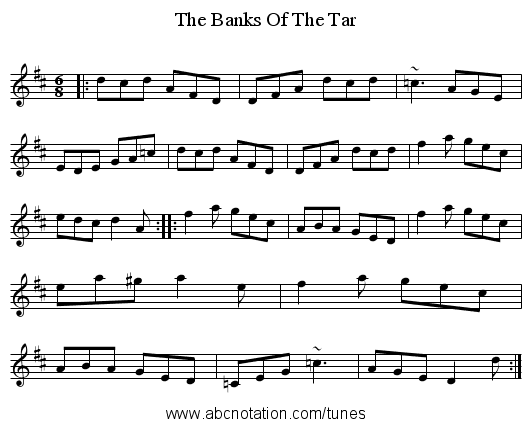 The Banks Of The Tar - staff notation