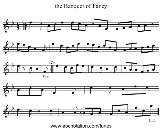 the Banquet of Fancy - staff notation