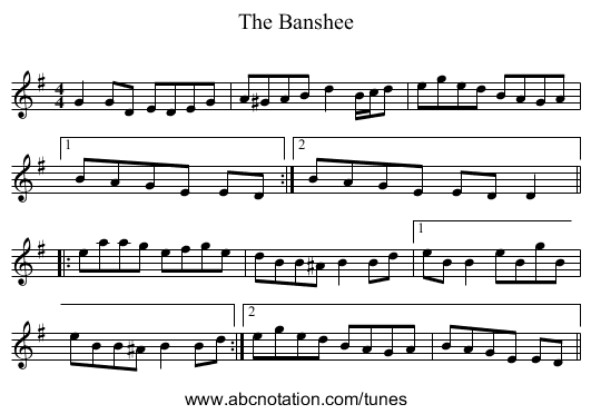 The Banshee - staff notation