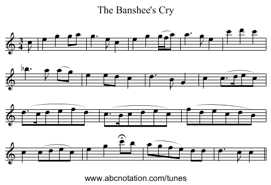 The Banshee's Cry - staff notation