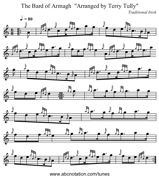 The Bard of Armagh  Arranged by Terry Tully - staff notation