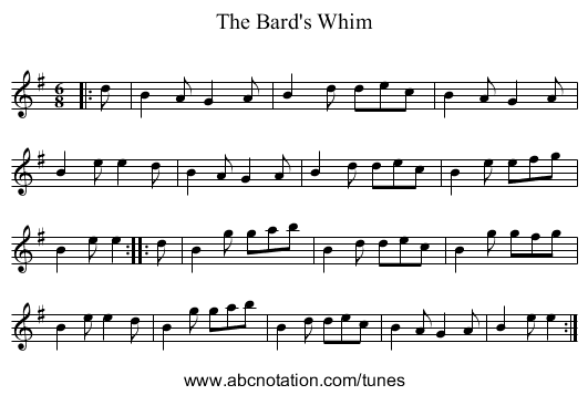 The Bard's Whim - staff notation