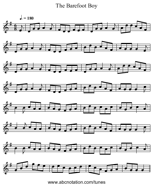 The Barefoot Boy - staff notation