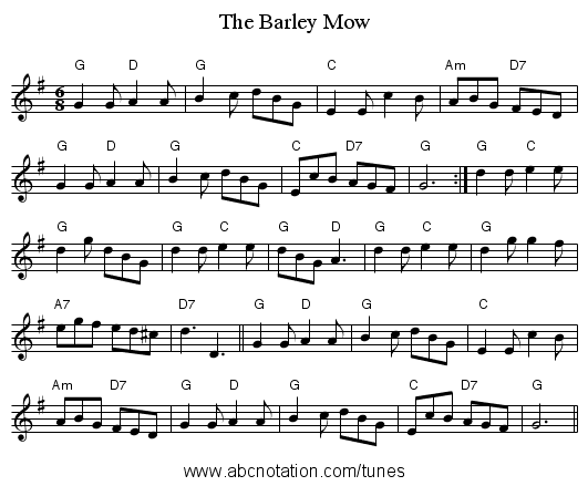 The Barley Mow - staff notation