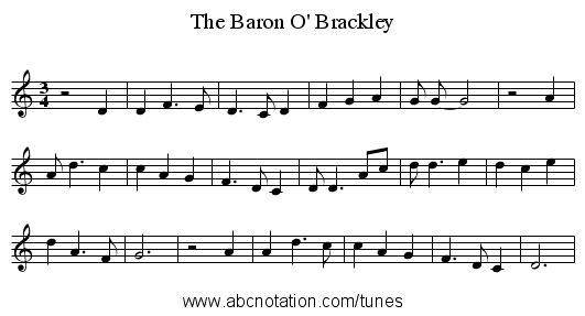 The Baron O' Brackley - staff notation