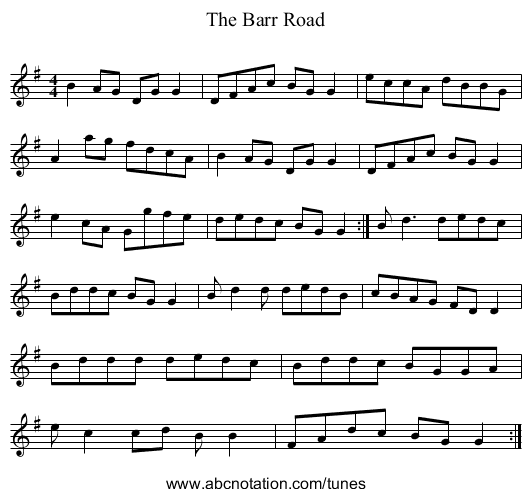 The Barr Road - staff notation
