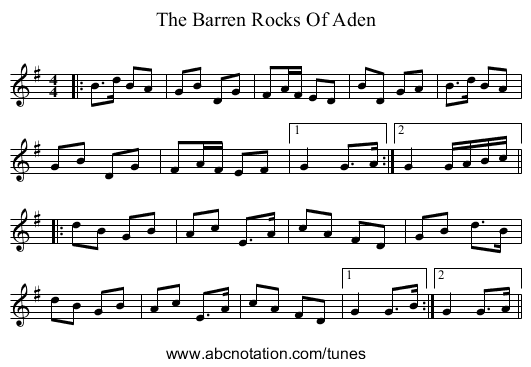 The Barren Rocks Of Aden - staff notation