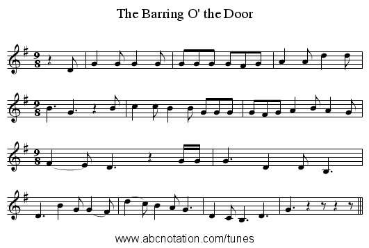 The Barring O' the Door - staff notation