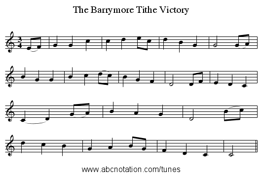 The Barrymore Tithe Victory - staff notation