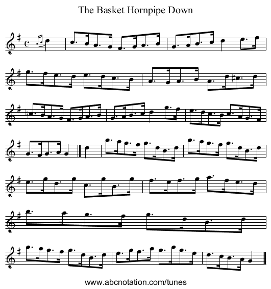 The Basket Hornpipe Down - staff notation
