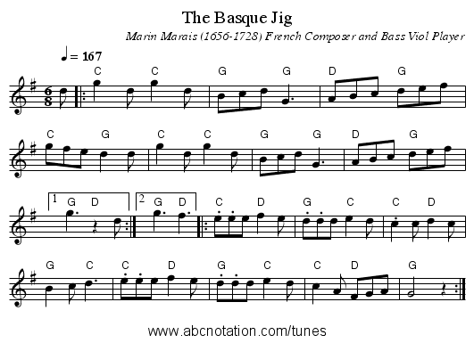 The Basque Jig - staff notation