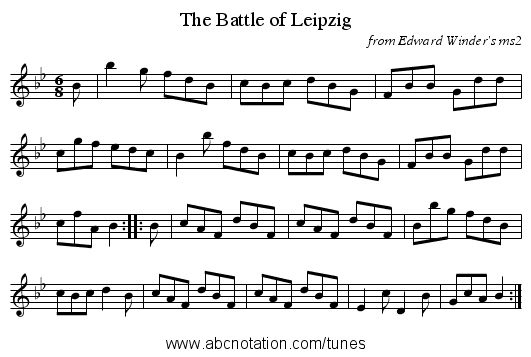 The Battle of Leipzig - staff notation