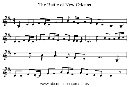 The Battle of New Orleans - staff notation