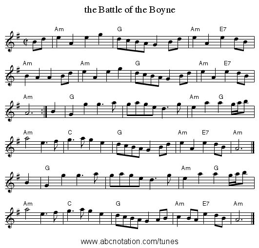 the Battle of the Boyne - staff notation