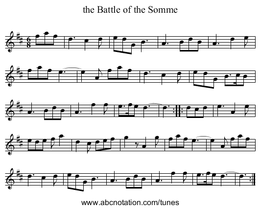 the Battle of the Somme - staff notation
