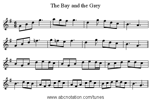 The Bay and the Grey - staff notation