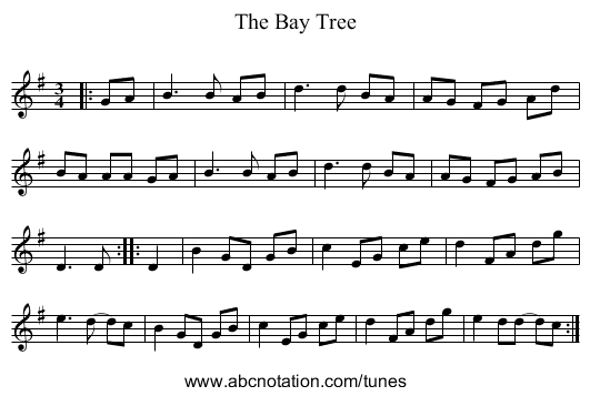 The Bay Tree - staff notation