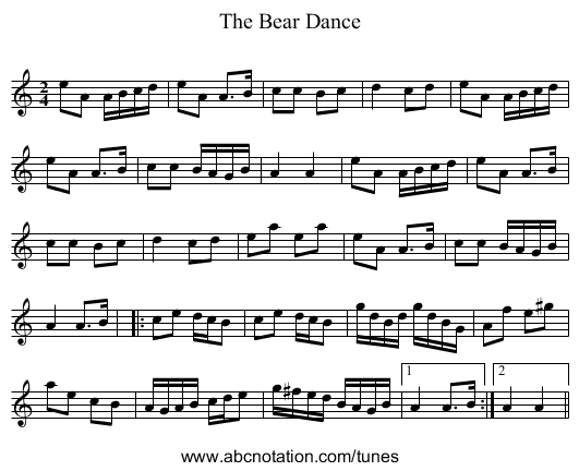 The Bear Dance - staff notation