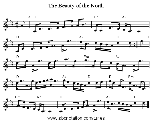 The Beauty of the North - staff notation