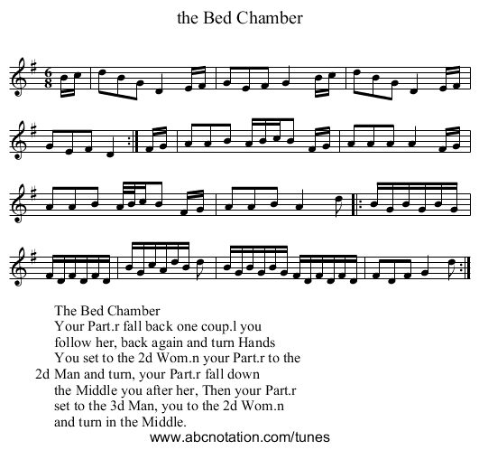 the Bed Chamber - staff notation