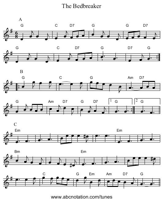 The Bedbreaker - staff notation