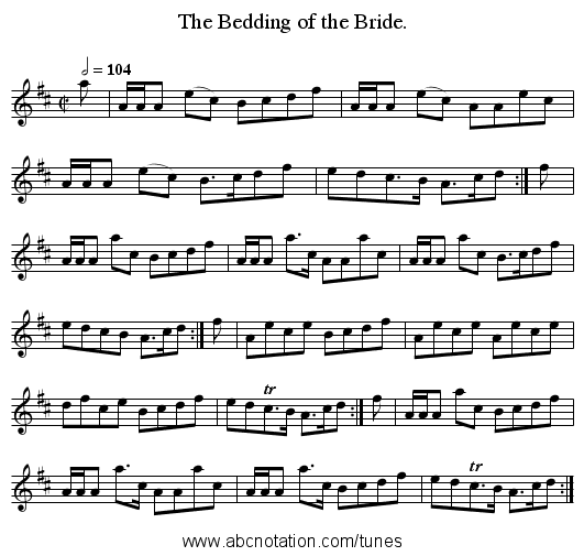 The Bedding of the Bride. - staff notation
