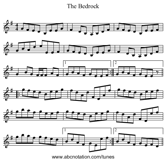 The Bedrock - staff notation
