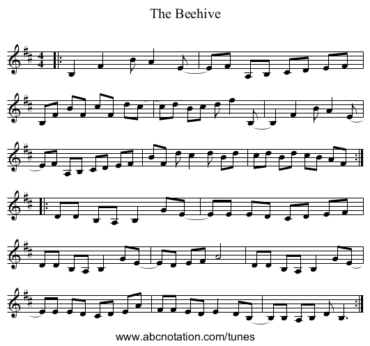 The Beehive - staff notation