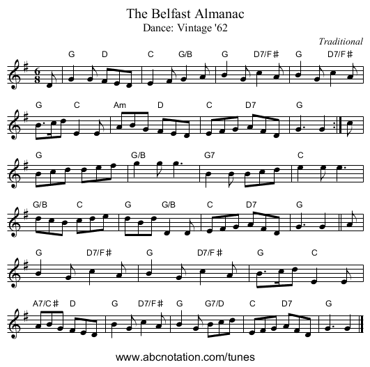The Belfast Almanac - staff notation