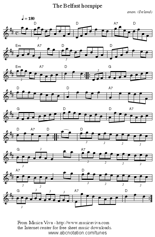 The Belfast hornpipe - staff notation