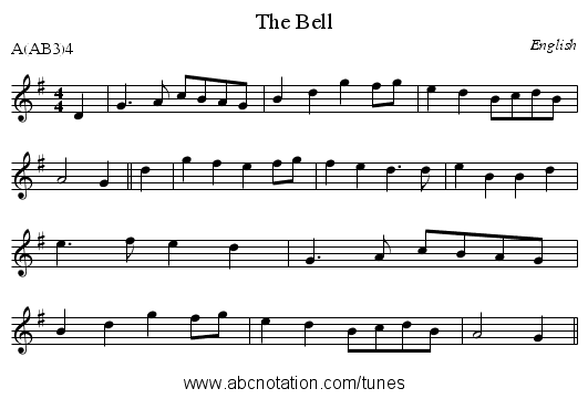 The Bell - staff notation
