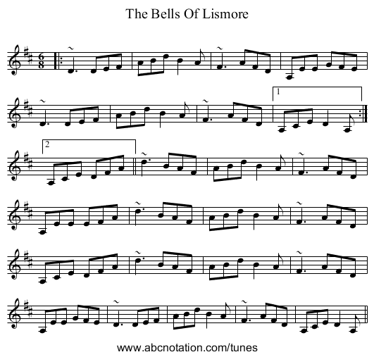The Bells Of Lismore - staff notation