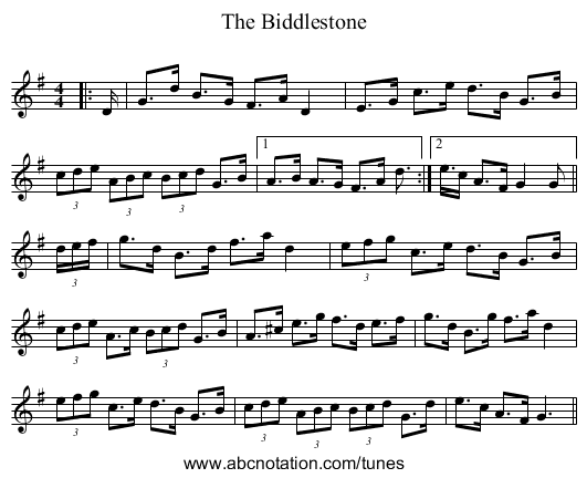 The Biddlestone - staff notation