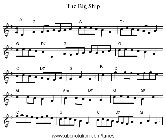 The Big Ship - staff notation