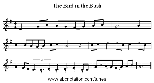The Bird in the Bush - staff notation