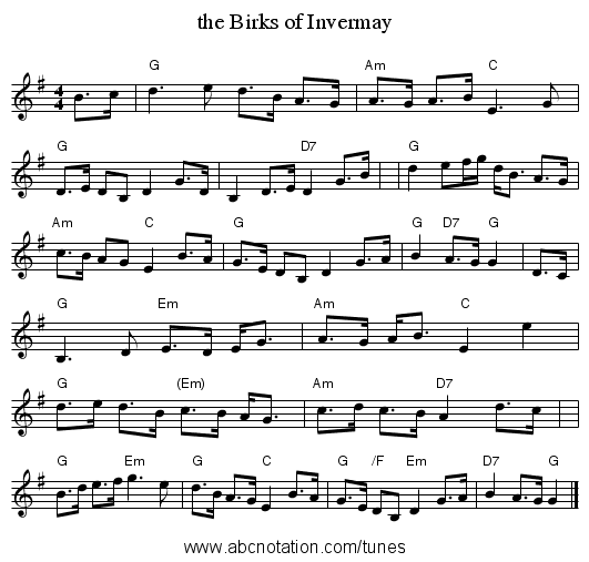 the Birks of Invermay - staff notation
