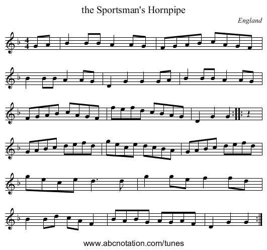the Bishop of Chester's Jig - staff notation
