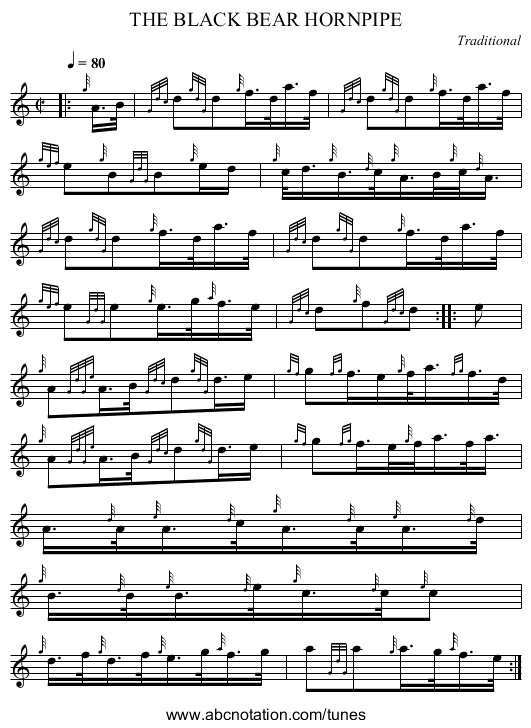 THE BLACK BEAR HORNPIPE - staff notation