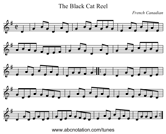 the Black Cat Reel - staff notation