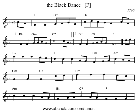 the Black Dance   [F] - staff notation