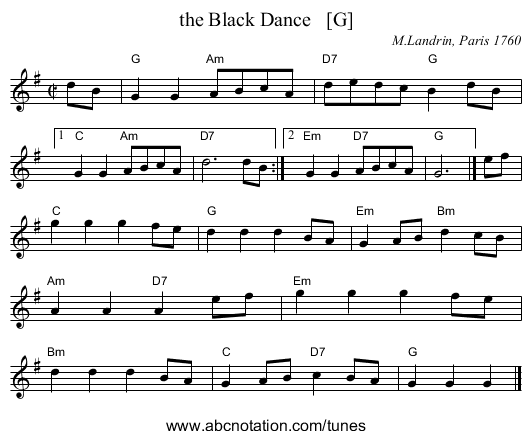 the Black Dance   [G] - staff notation