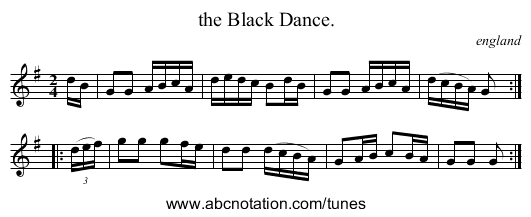 the Black Dance. - staff notation
