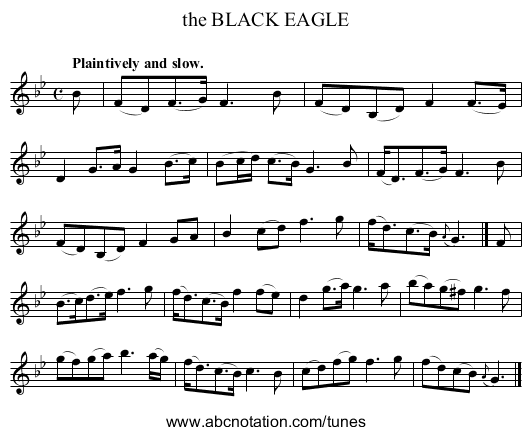 the BLACK EAGLE - staff notation