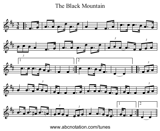 The Black Mountain - staff notation