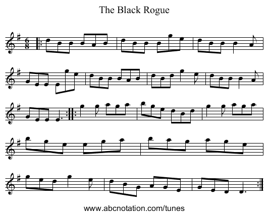 The Black Rogue - staff notation